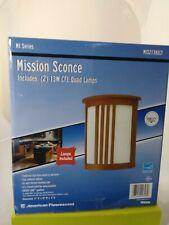 Mission Sconce (includes 2 13W CFL Quad Lamps) oak Veneer Finish MIS213KECT New