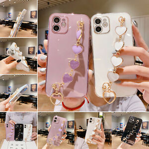 Soft Plating Phone Case Love Heart Wrist Chain For iPhone 12 11 Pro Max XS XR SE