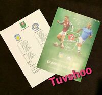 Manchester City Aston Villa 2020 Carabao EFL Cup Final ORIGINAL TEAMSHEET ONLY!!
