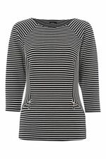 Crew Neck Fitted Casual Striped Tops & Shirts for Women