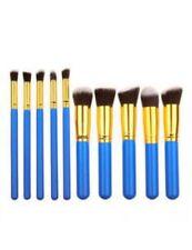 10pcs Professional Makeup Brush Set Eyeshadow Lip Powder Blusher Blue  & Gold