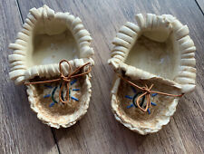 Native American First Nations Clay Art Pair Of Moccasins Indigenous Pottery