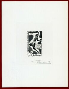 Mauritania 1969 #C88, Artist Signed Die Proof, Long Jump, Olympic Games