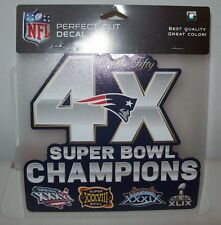 NEW ENGLAND PATROITS 4 TIME CHAMPIONS WINCRAFT 8X8 PERFECT CUT DECAL STICKER