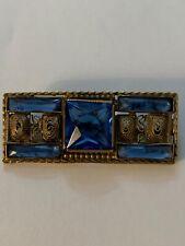 Glass Filigree Bar Brooch Pin Vintage Signed Czech-Slovak Blue Rhinestone