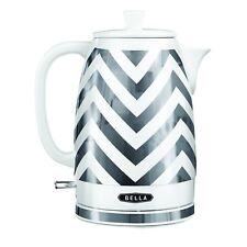 Bella 14537 Electric Ceramic Kettle Silver tone white Chevron 1.8 liter