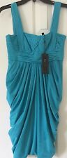 NWT BCBG Max Azria Draped Bandage Dress Cyan Blue teal Stretch dress XS