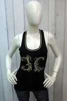 Just Cavalli Taglia XS Donna Maglia Nera Maglietta Cotone T-shirt Canotta Woman