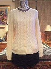 $2K+ LUXE CHIC SUMPTUOUS WARM Loro Piana cable BABY cashmere off white cardigan