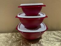 Tupperware New Press and Seal Bowls Set of 3 Colorful Vine Color Size S, L & XL