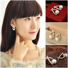 Fashion Women Jewelry Simulated Pearl Drop Cute Crystal Bowknot Dangle Earrings