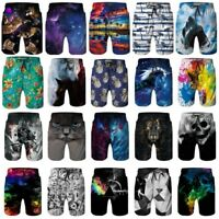 3D Print Men Quick Dry Swim Trunks Summer Surfing Beach Board Shorts Mesh Lining