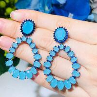 Ovaler Schnitt Blau Zirkon Lange Schlenkerend Hochzeit Party Ohrringe für Frauen