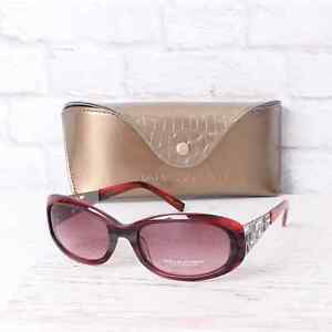 NEW Dana Buchman Sunglasses Red Frames Oval Women Gradient Lens Case Authentic