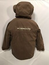 BURBERRY COAT PARKA JACKET HOODED BROWN UNISEX ZIP BABY TODDLER Size: 3 Yrs EUC
