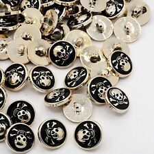 20pc 1-Hole Black CCB Acrylic Enamel Flat Round Pirate Skull Shank Sewing Button