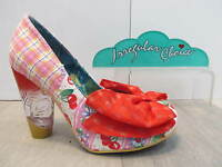 Irregular Choice Bowtina Trinkletina Pink White Red Bow Detail Glass Heel Shoe