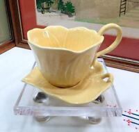 "VINTAGE PORCELAIN LARGE LEAF YELLOW W/ WHITE DOTS 3 1/2"" CUP AND SAUCER"