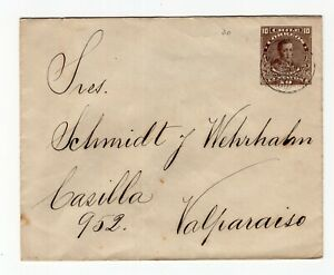 Chile TPO train railway cancellation number 30 on cover to Valparaiso 1913