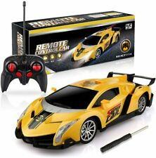 Growsland 1:24 Remote Control Car Yellow Vehicle for Kids with Lights Xmas Gifts