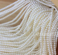 Natural Genuine 3-4mm White Freshwater Pearl Loose Beads strand 15''AAA+