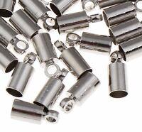 30 Edelstahl Endkappen Plattiert für 2,5mm Lederband Ende Verschluss DIY M43#3