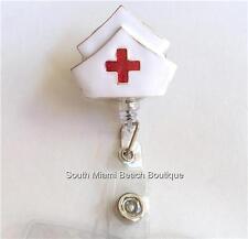 Nursing Gift ID Tag Lanyard Silver NURSE Cap Red Cross Retractable Reel Holder
