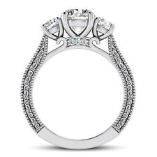Pave Three Stone 1.8 Ct Round Cut Diamond Engagement Ring White Gold VS2 H