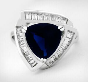 BLUE SAPPHIRE 6.73 Cts & WHITE SAPPHIRES RING Silver Plated * NWT * Size 7.25