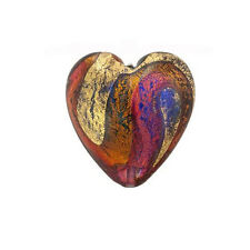 Murano Venetian Heart Bead 24kt Gold Foil 30mm  PK1 **UK EBAY SHOP**