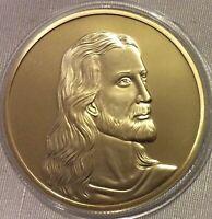 LOT-4- RELIGION,JESUS,GOLD PLATED NOVELTY MEDALLION,THE LAST SUPPER.BU.40 MM