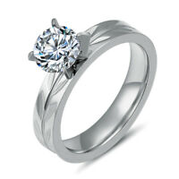 Women Stainless Steel Cubic Zirconia Wedding Engagement Band Rings 4MM Size 6-11