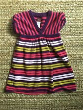 TEA COLLECTION China Sweater Dress, Short Sleeve, Striped, Pink Purple, Size 3