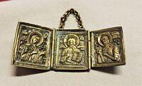 Antike Russische Reise-Ikone, Deesis,Reise-Altar, Falt-Triptychon 19.Jahrhundert