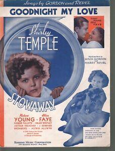 Goodnight My Love 1936 Stowaway Shirley Temple Sheet Music