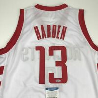 Autographed/Signed JAMES HARDEN Houston White Basketball Jersey Beckett BAS COA