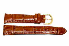 20mm Brown Genuine Leather Croco Grain Stitched High Quality Watch Band Strap