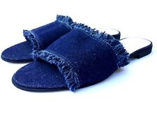 Niccolo Vacari Blue Women's Sandals Frayed Denim Slip On Size 6,5 Made in Italy