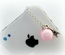 Macaron With Heart Eiffel Tower Dust Plug Charm, Phone Charm, Kawaii! :)