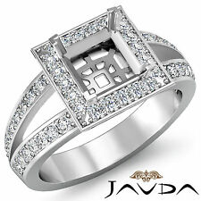 Diamond Engagement Ring Halo Setting 18k White Gold Princess Semi Mount 0.55Ct
