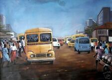 Returning Home at Sunset African Oil on Canvas