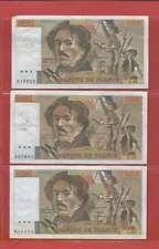 Lot de 3 x 100 FRANCS EUGENE DELACROIX de 1981 & 1982 ALPHABETS Z.46 X.48  C.55