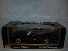 1/18 SCALE DIECAST 2002 FORD THUNDERBIRD COUPE IN BLACK BY MAISTO.