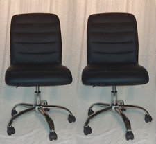 Set of 2 Office Chairs Ribbed Sled Base Leather Swivel Ergonomic - New!