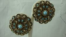 VINTAGE BERGERE FAUX TURQUOISE CLEAR RHINESTONE ROUND GOLD TONE CLIP EARRINGS