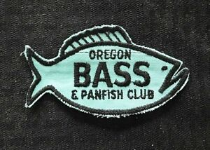 """c.1970 """"OREGON BASS AND PANFISH CLUB"""" PORTLAND OR FISH SHAPED CHEESECLOTH PATCH"""