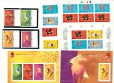 """HONG KONG, 1990, 2002, """"YEAR OF HORSE"""" 3 S/S, 2 STAMP SETS + BOOKLET 6V, MINT NH"""