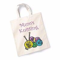 Mums Knitting Bag Canvas Tote Shopping Bag Cotton Printed Shopper Bag Gift