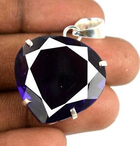 925 Sterling Silver Pendant Violet Amethyst 49.05 Ct Pear Cut Certified K5766