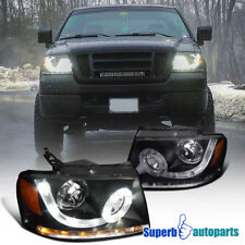 2004-2008 Ford F150 Lincoln Mark LT SMD LED Signal DRL Black Projector Headlight